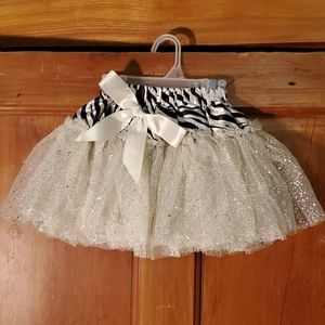NEW Zebra & Sparkly Off White Puffy Skirt Size 3T